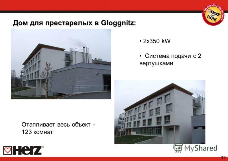 37 Дом для престарелых в Gloggnitz: 2x350 kW Система подачи с 2 вертушками Отапливает весь объект - 123 комнат