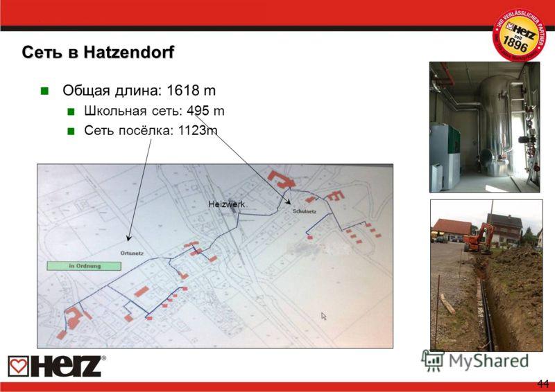 44 Сеть в Hatzendorf Общая длина: 1618 m Школьная сеть: 495 m Сеть посёлка: 1123m Heizwerk