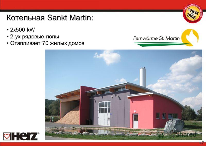 47 Котельная Sankt Martin: 2x500 kW 2-ух рядовые полы Отапливает 70 жилых домов