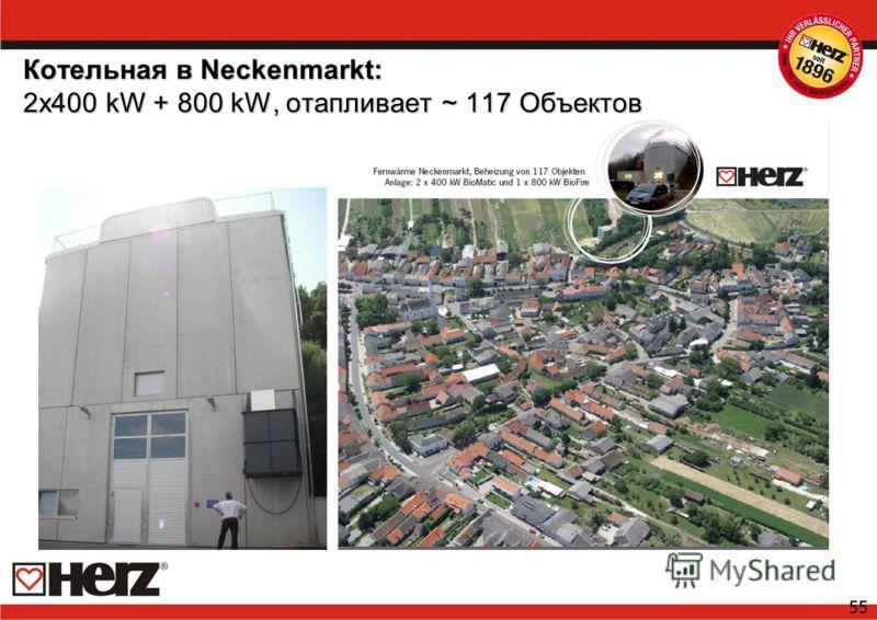 55 Котельная в Neckenmarkt: 2x400 kW + 800 kW, отапливает ~ 117 Oбъектов