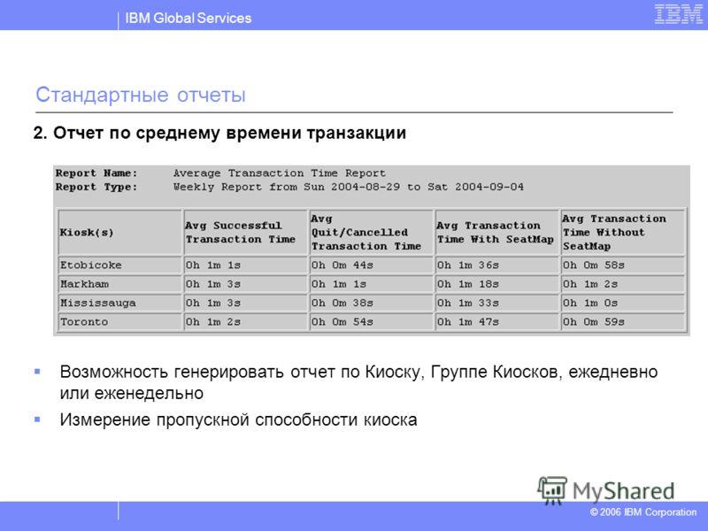 IBM Global Services © 2004 IBM Corporation © 2006 IBM Corporation 2. Отчет по среднему времени транзакции Возможность генерировать отчет по Киоску, Группе Киосков, ежедневно или еженедельно Измерение пропускной способности киоска Стандартные отчеты