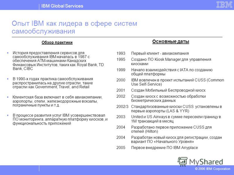 IBM Global Services © 2004 IBM Corporation © 2006 IBM Corporation Опыт IBM как лидера в сфере систем самообслуживания Обзор практики История предоставления сервисов для самообслуживания IBM началась в 1987 с обеспечения ATM-машинами Канадских Финансо