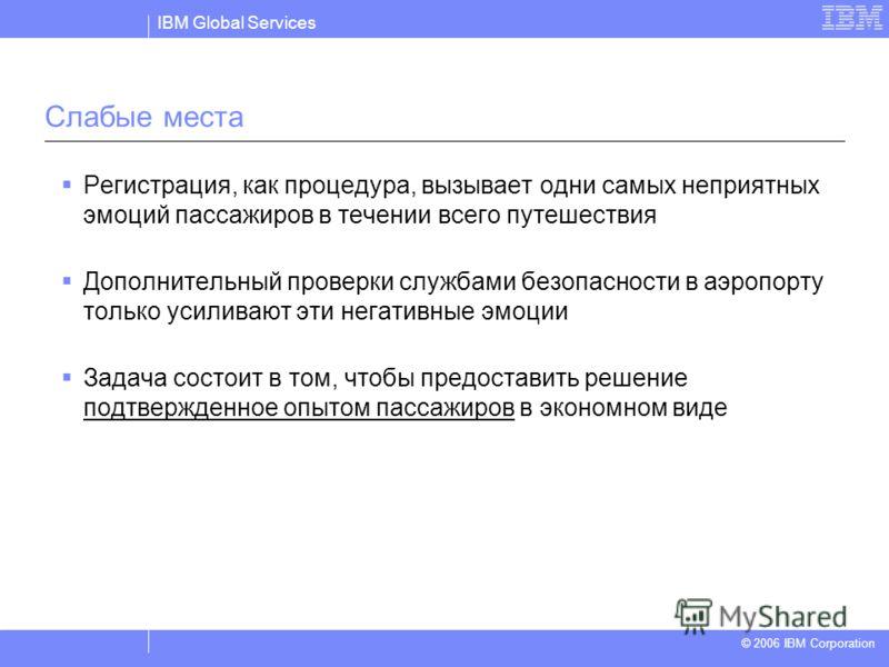 IBM Global Services © 2004 IBM Corporation © 2006 IBM Corporation Слабые места Регистрация, как процедура, вызывает одни самых неприятных эмоций пассажиров в течении всего путешествия Дополнительный проверки службами безопасности в аэропорту только у