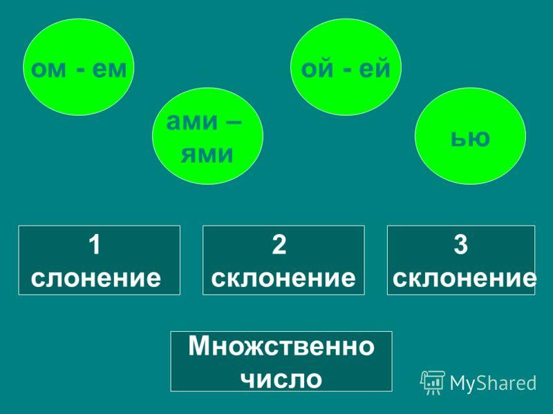 1 склонение 2 склонение 3 слонение Множественное число ой - ейом - ем ью ами – ями
