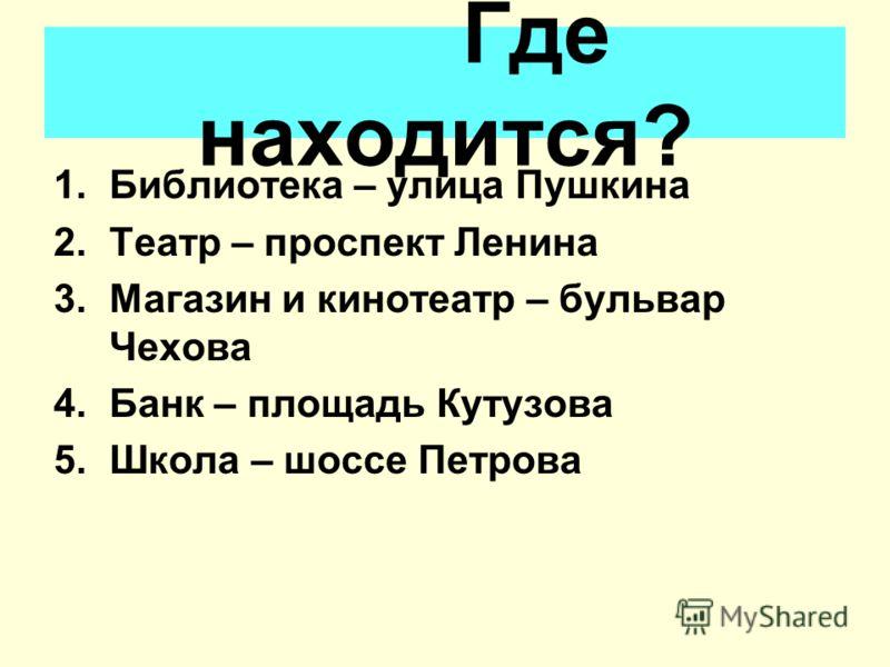 Название улиц 1.Pushkin street 2.Lenin street 3.Chekhov street 1.Улица Пушкина 2.Улица Ленина 3.Улица Чехова