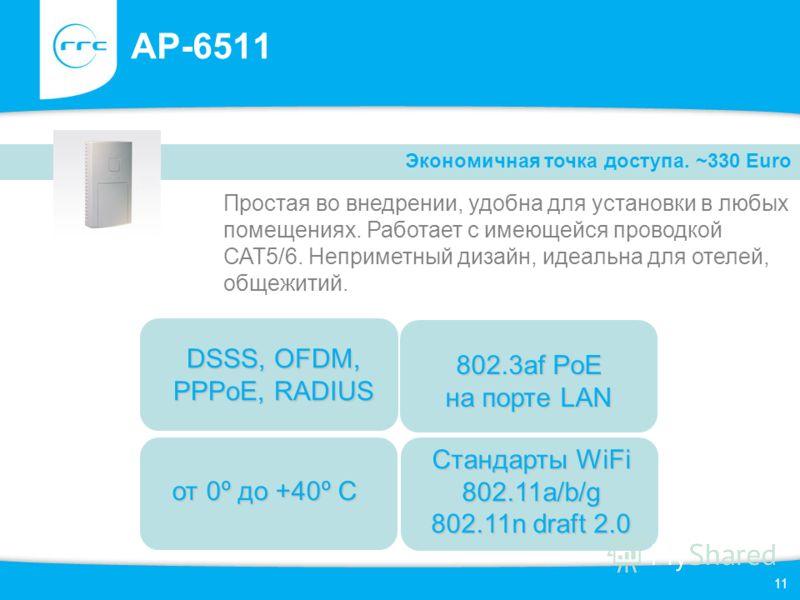 11 AP-6511 Простая во внедрении, удобна для установки в любых помещениях. Работает с имеющейся проводкой САТ5/6. Неприметный дизайн, идеальна для отелей, общежитий. Экономичная точка доступа. ~330 Euro от 0º до +40º С 802.3af PoE на порте LAN DSSS, O