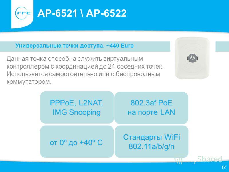 12 AP-6521 \ AP-6522 Данная точка способна служить виртуальным контроллером с координацией до 24 соседних точек. Используется самостоятельно или с беспроводным коммутатором. Универсальные точки доступа. ~440 Euro от 0º до +40º С 802.3af PoE на порте