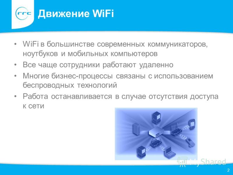 Движение WiFi WiFi в большинстве современных коммуникаторов, ноутбуков и мобильных компьютеров Все чаще сотрудники работают удаленно Многие бизнес-процессы связаны с использованием беспроводных технологий Работа останавливается в случае отсутствия до