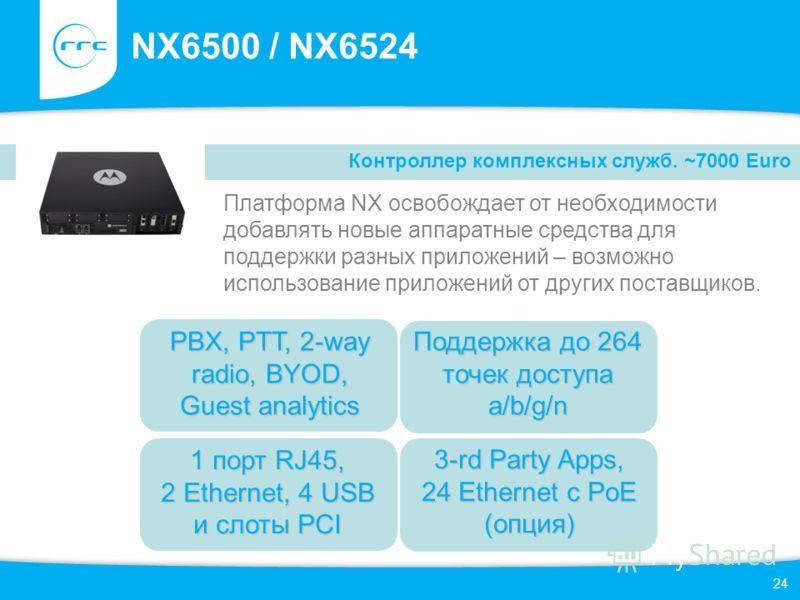 24 NX6500 / NX6524 Платформа NX освобождает от необходимости добавлять новые аппаратные средства для поддержки разных приложений – возможно использование приложений от других поставщиков. Контроллер комплексных служб. ~7000 Euro 1 порт RJ45, 2 Ethern