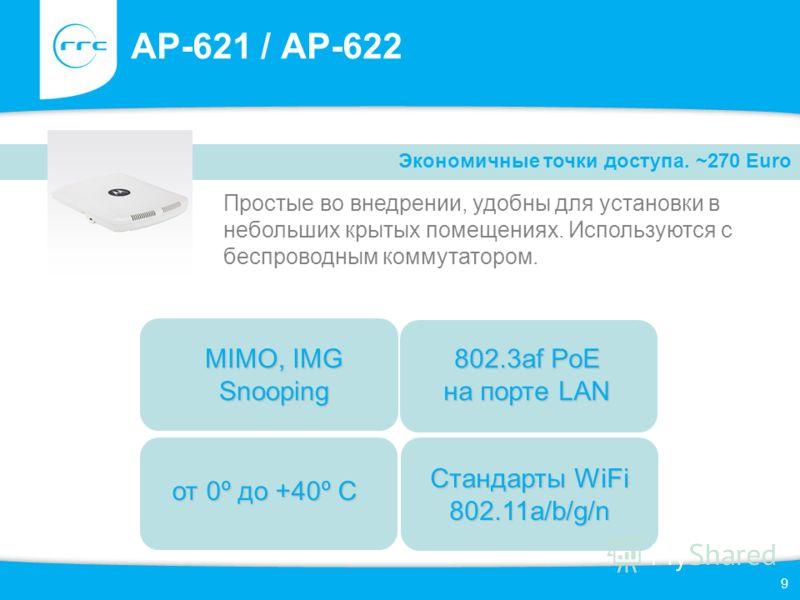 9 AP-621 / AP-622 Простые во внедрении, удобны для установки в небольших крытых помещениях. Используются с беспроводным коммутатором. Экономичные точки доступа. ~270 Euro от 0º до +40º С 802.3af PoE на порте LAN MIMO, IMG Snooping Стандарты WiFi 802.