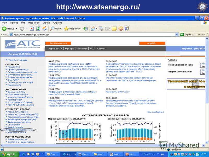 Определение объемов, которые потребитель приобретает у ГП по регулируемым тарифам и нерегулируемым ценам http://www.atsenergo.ru/