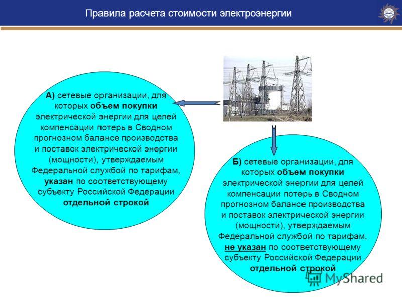 Правила расчета стоимости электроэнергии конечным потребителям А) сетевые организации, для которых объем покупки электрической энергии для целей компенсации потерь в Сводном прогнозном балансе производства и поставок электрической энергии (мощности),