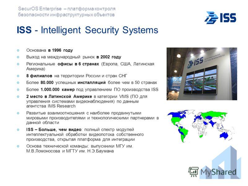 SecurOS Enterprise – платформа контроля безопасности инфраструктурных объектов ISS - Intelligent Security Systems Основана в 1996 году Выход на международный рынок в 2002 году Региональные офисы в 6 странах (Европа, США, Латинская Америка) 8 филиалов