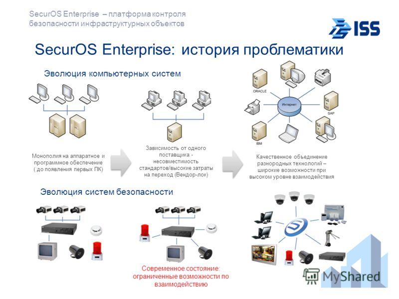 SecurOS Enterprise – платформа контроля безопасности инфраструктурных объектов Зависимость от одного поставщика - несовместимость стандартов/высокие затраты на переход (Вендор-лок) Качественное объединение разнородных технологий – широкие возможности