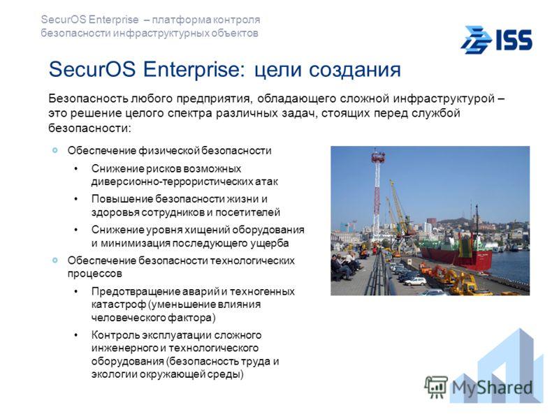 SecurOS Enterprise: цели создания Безопасность любого предприятия, обладающего сложной инфраструктурой – это решение целого спектра различных задач, стоящих перед службой безопасности: Обеспечение физической безопасности Снижение рисков возможных див