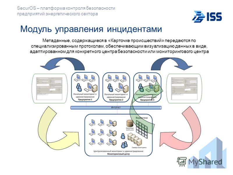 SecurOS – платформа контроля безопасности предприятий энергетического сектора Модуль управления инцидентами Метаданные, содержащиеся в «Карточке происшествий» передаются по специализированным протоколам, обеспечивающим визуализацию данных в виде, ада