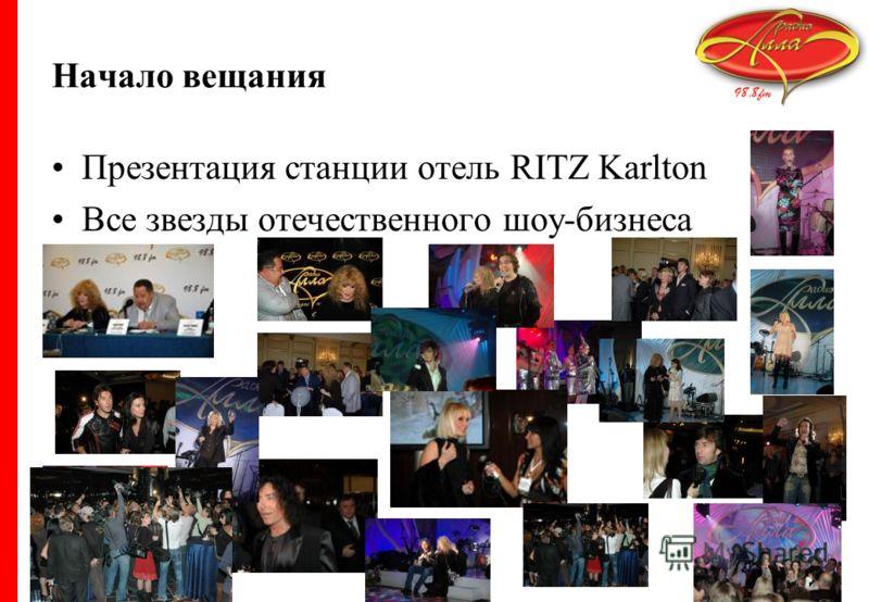Начало вещания Презентация станции отель RITZ Karlton Все звезды отечественного шоу-бизнеса