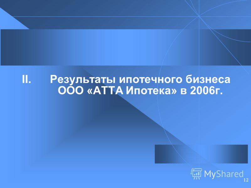 12 II.Результаты ипотечного бизнеса ООО «АТТА Ипотека» в 2006г.