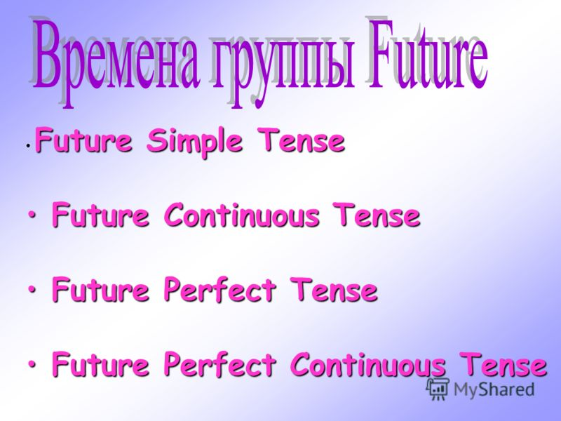 Future Simple Tense F Future Continuous Tense uture Perfect Tense uture Perfect Continuous Tense