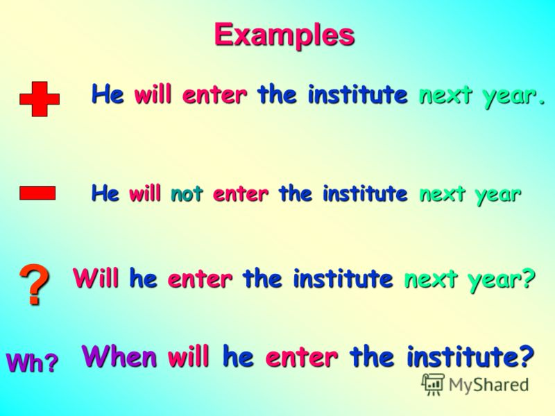 ? Examples He will enter the institute next year. He will not enter the institute next year Will he enter the institute next year? When will he enter the institute?