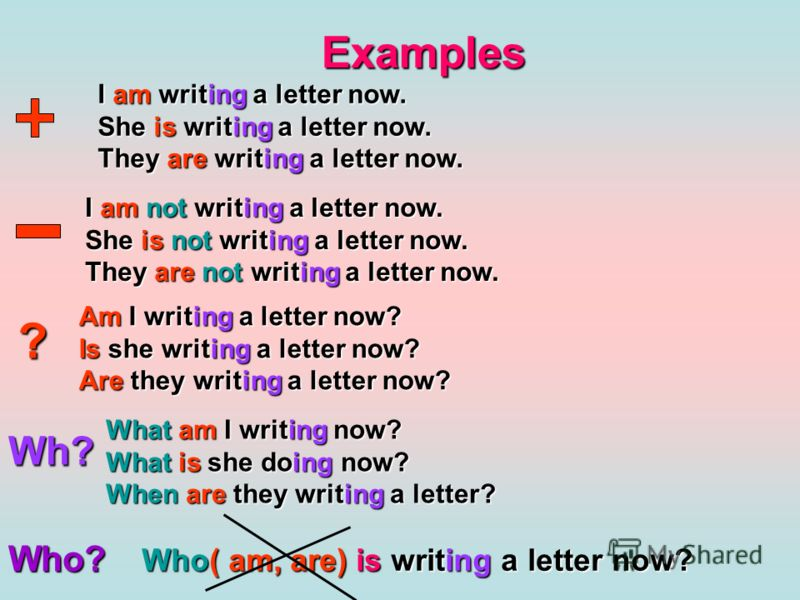Examples I am writing a letter now. She is writing a letter now. They are writing a letter now. I am not writing a letter now. She is not writing a letter now. They are not writing a letter now. ? Am I writing a letter now? Is she writing a letter no