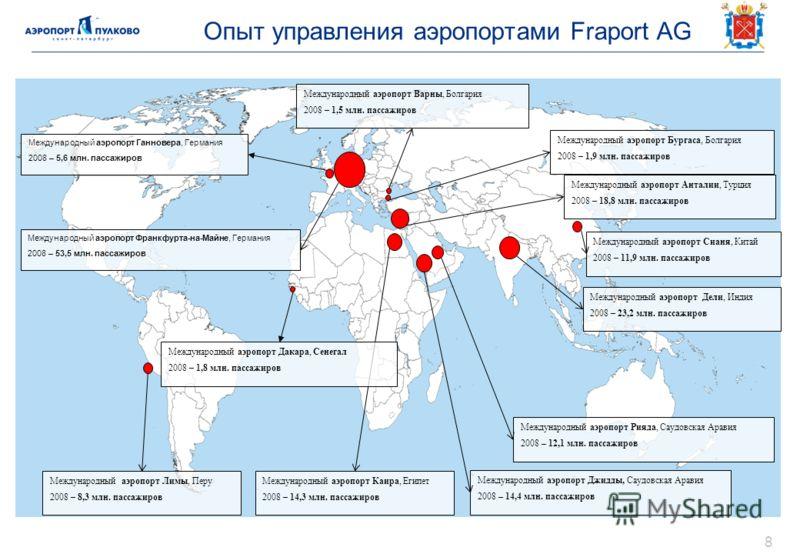 Опыт управления аэропортами Fraport AG 8 Международный аэропорт Франкфурта-на-Майне, Германия 2008 – 53,5 млн. пассажиров Международный аэропорт Дели, Индия 2008 – 23,2 млн. пассажиров Международный аэропорт Анталии, Турция 2008 – 18,8 млн. пассажиро