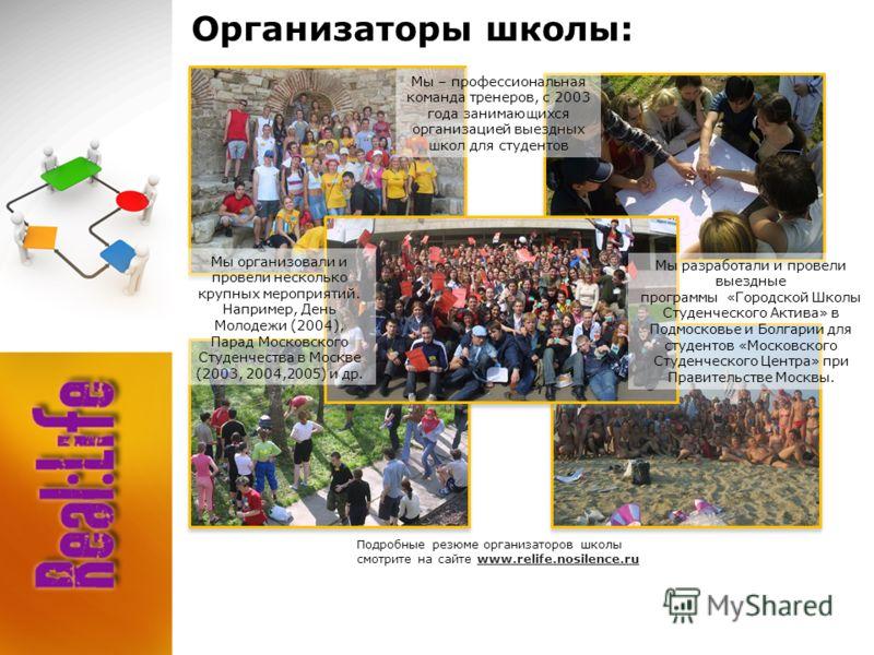 Организаторы школы: Подробные резюме организаторов школы смотрите на сайте www.relife.nosilence.ru Мы – профессиональная команда тренеров, с 2003 года занимающихся организацией выездных школ для студентов Мы организовали и провели несколько крупных м