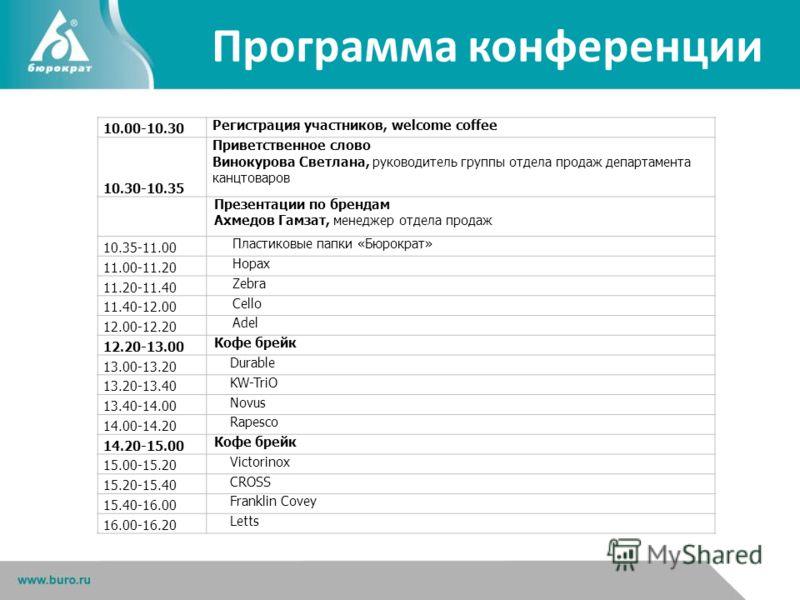 Программа конференции 10.00-10.30 Регистрация участников, welcome coffee 10.30-10.35 Приветственное слово Винокурова Светлана, руководитель группы отдела продаж департамента канцтоваров Презентации по брендам Ахмедов Гамзат, менеджер отдела продаж 10