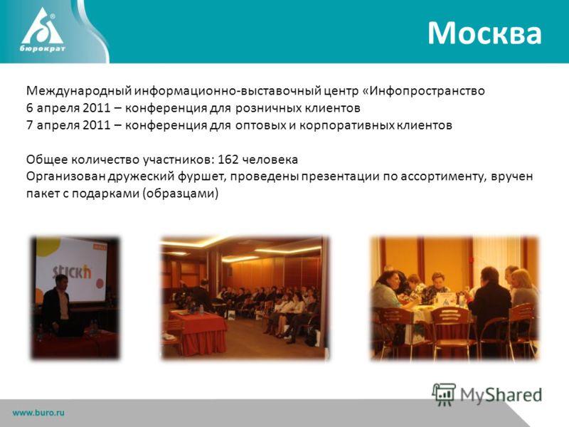 Москва Международный информационно-выставочный центр «Инфопространство 6 апреля 2011 – конференция для розничных клиентов 7 апреля 2011 – конференция для оптовых и корпоративных клиентов Общее количество участников: 162 человека Организован дружеский