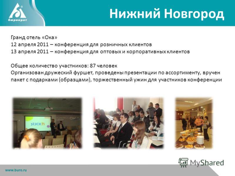 Нижний Новгород Гранд отель «Ока» 12 апреля 2011 – конференция для розничных клиентов 13 апреля 2011 – конференция для оптовых и корпоративных клиентов Общее количество участников: 87 человек Организован дружеский фуршет, проведены презентации по асс