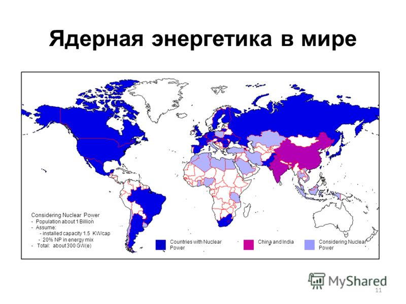 11 Ядерная энергетика в мире Considering Nuclear Power - Population about 1 Billion - Assume: - installed capacity 1.5 KW/cap - 20% NP in energy mix - Total: about 300 GW(e) Countries with Nuclear Power China and IndiaConsidering Nuclear Power