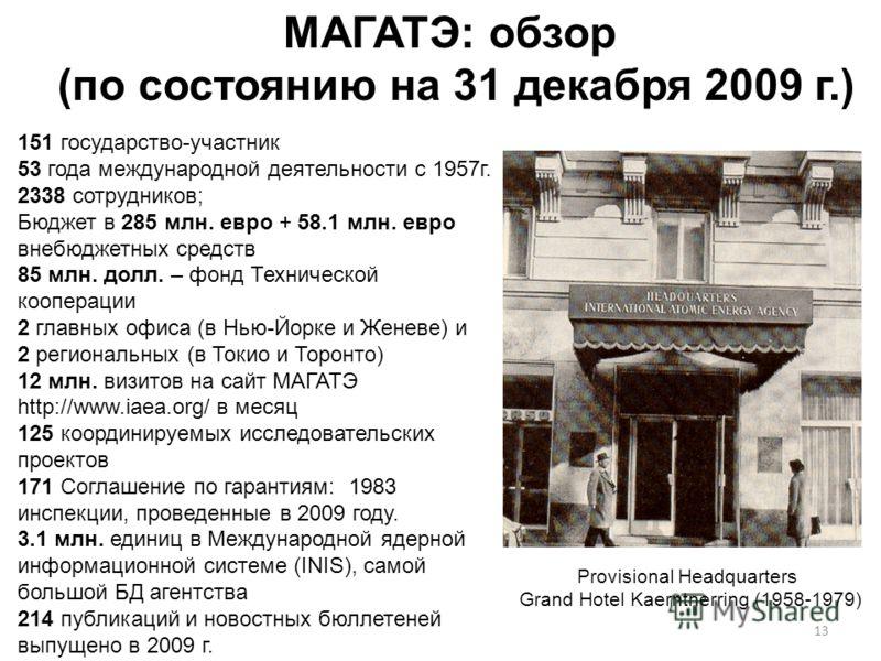 13 МАГАТЭ: обзор (по состоянию на 31 декабря 2009 г.) Provisional Headquarters Grand Hotel Kaerntnerring (1958-1979) 151 государство-участник 53 года международной деятельности с 1957г. 2338 сотрудников; Бюджет в 285 млн. евро + 58.1 млн. евро внебюд