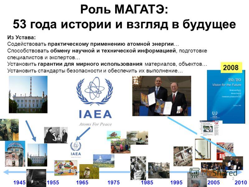 2 1955196519751985199520051945 Из Устава: Содействовать практическому применению атомной энергии… Способствовать обмену научной и технической информацией, подготовке специалистов и экспертов… Установить гарантии для мирного использования материалов,