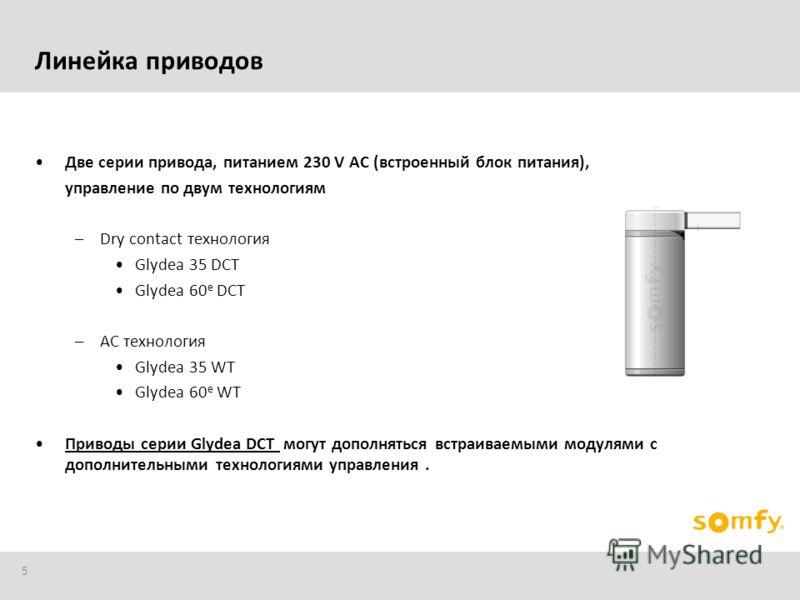 5 Линейка приводов Две серии привода, питанием 230 V AC (встроенный блок питания), управление по двум технологиям –Dry contact технология Glydea 35 DCT Glydea 60 e DCT –AC технология Glydea 35 WT Glydea 60 e WT Приводы серии Glydea DCT могут дополнят