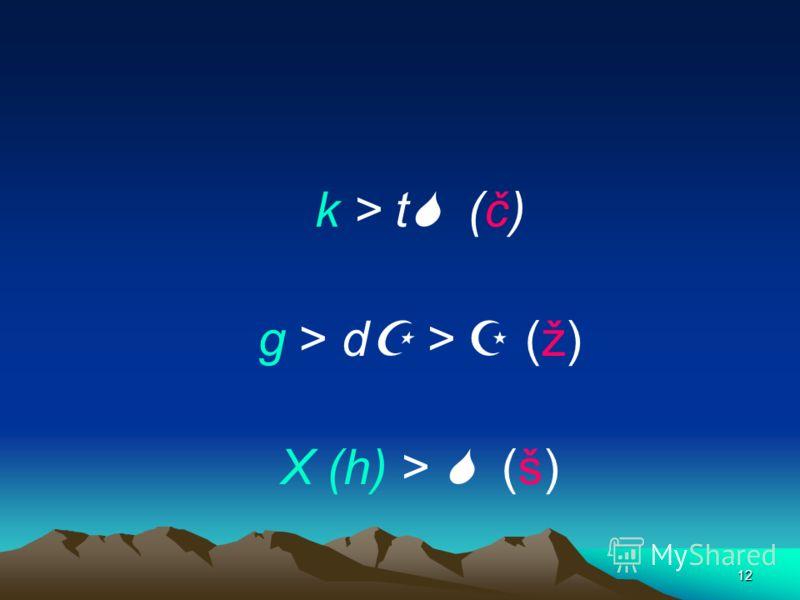 11 Erste Palatalisierung, e; i, ĭ + velare Konsonanten k, g, h = č, ž, š