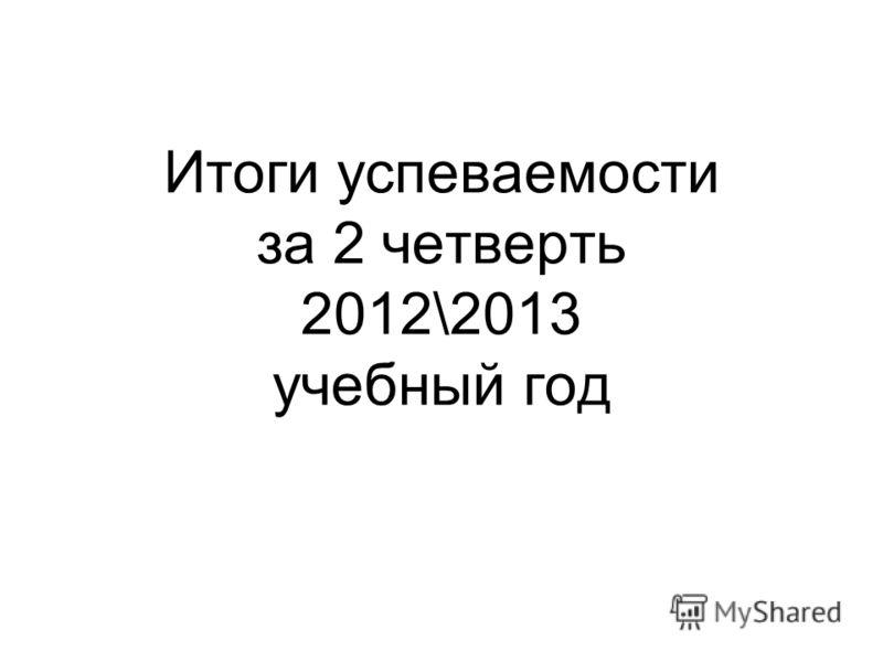 Итоги успеваемости за 2 четверть 2012\2013 учебный год