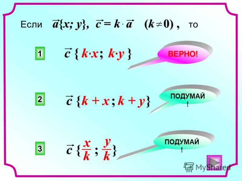 1 2 3 ВЕРНО! ПОДУМАЙ ! a{x; y}, c = k a (k 0), Если a{x; y}, c = k a (k 0), то c { ; } x kyk k x k y c { ; } k + x k + y