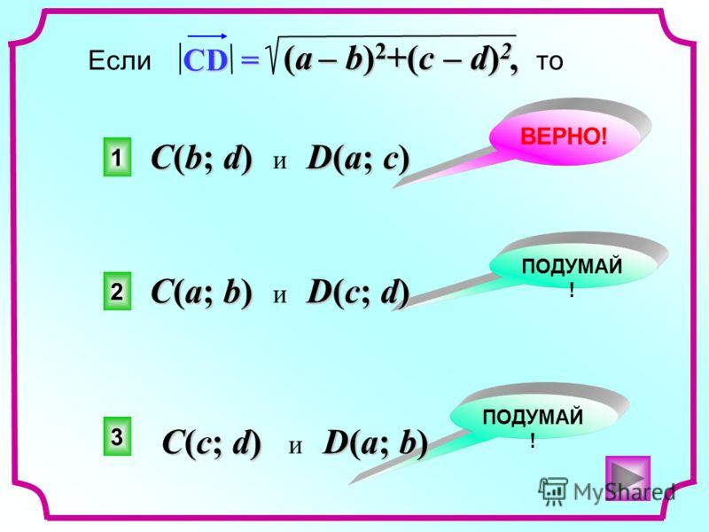1 2 3 ВЕРНО! ПОДУМАЙ !, Если, то CD = (a – b) 2 +(c – d) 2 C(a; b) D(c; d) C(a; b) и D(c; d) C(b; d) D(a; c) C(b; d) и D(a; c) C(c; d) D(a; b) C(c; d) и D(a; b)