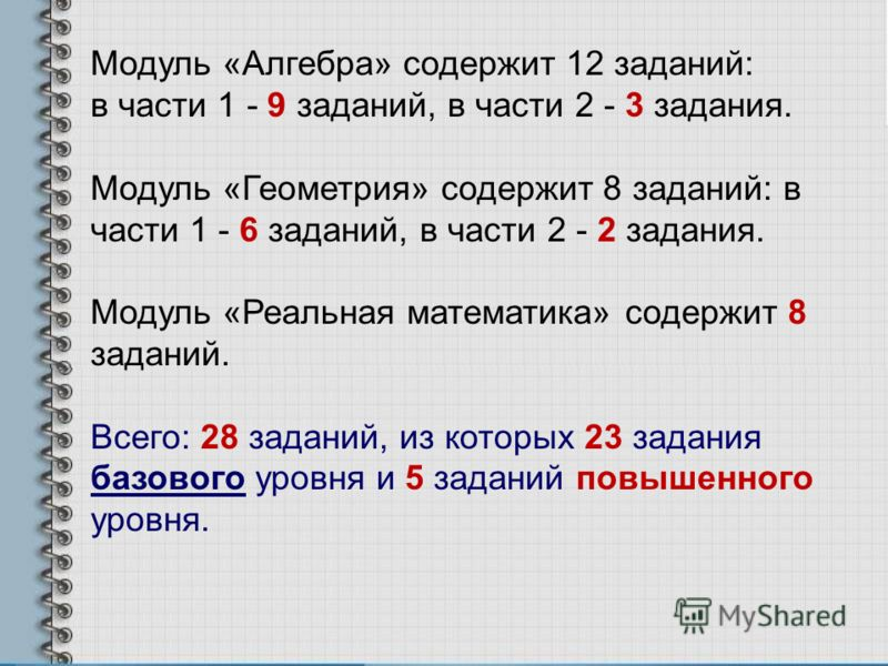 Модуль «Алгебра» содержит 12 заданий: в части 1 - 9 заданий, в части 2 - 3 задания. Модуль «Геометрия» содержит 8 заданий: в части 1 - 6 заданий, в части 2 - 2 задания. Модуль «Реальная математика» содержит 8 заданий. Всего: 28 заданий, из которых 23