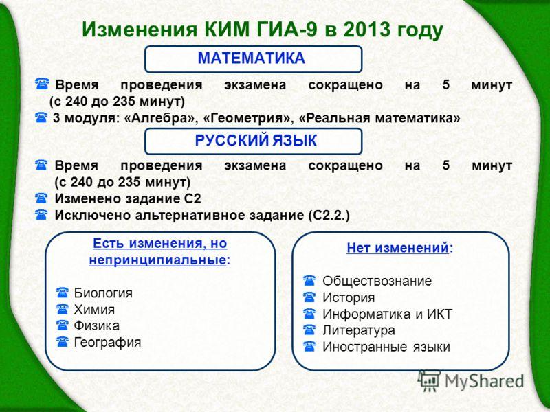 Изменения КИМ ГИА-9 в 2013 году Время проведения экзамена сокращено на 5 минут (с 240 до 235 минут) 3 модуля: «Алгебра», «Геометрия», «Реальная математика» МАТЕМАТИКА Время проведения экзамена сокращено на 5 минут (с 240 до 235 минут) Изменено задани