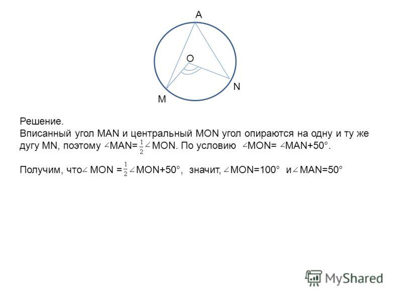 М А N O Решение. Вписанный угол MAN и центральный MON угол опираются на одну и ту же дугу MN, поэтому MAN= MON. По условию MON= MAN+50°. Получим, что MON = MON+50°, значит, MON=100° и MAN=50°