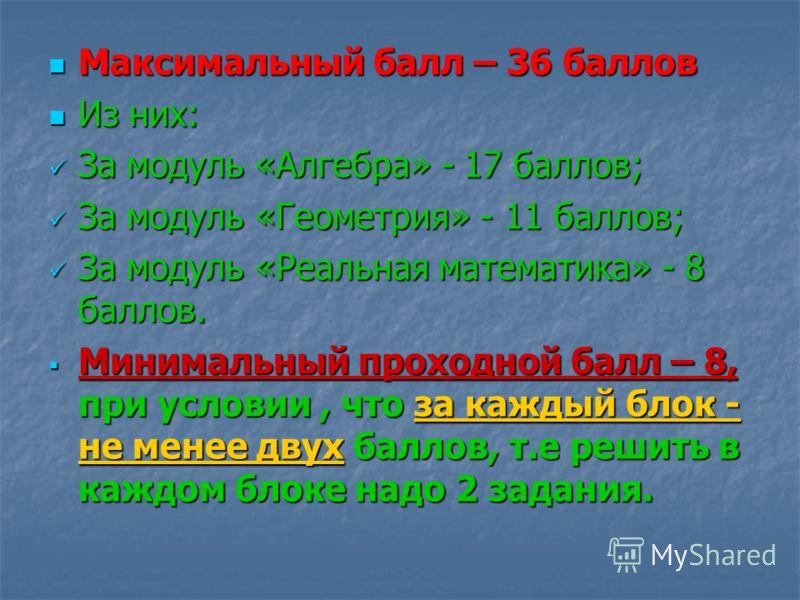 Максимальный балл – 36 баллов Максимальный балл – 36 баллов Из них: Из них: За модуль «Алгебра» - 17 баллов; За модуль «Алгебра» - 17 баллов; За модуль «Геометрия» - 11 баллов; За модуль «Геометрия» - 11 баллов; За модуль «Реальная математика» - 8 ба