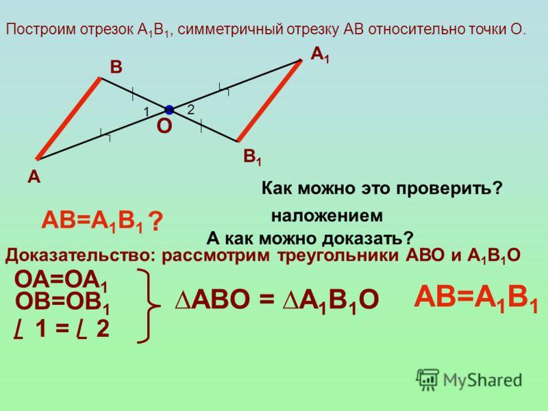 Построим отрезок А 1 В 1, симметричный отрезку АВ относительно точки О. А В 1 2 А1А1 В1В1 АВ=А 1 В 1 ? Как можно это проверить? наложением Доказательство: рассмотрим треугольники АВО и А 1 В 1 О ОА=ОА 1 ОВ=ОВ 1 / 1 = / 2 АВО = А 1 В 1 О АВ=А 1 В 1 О