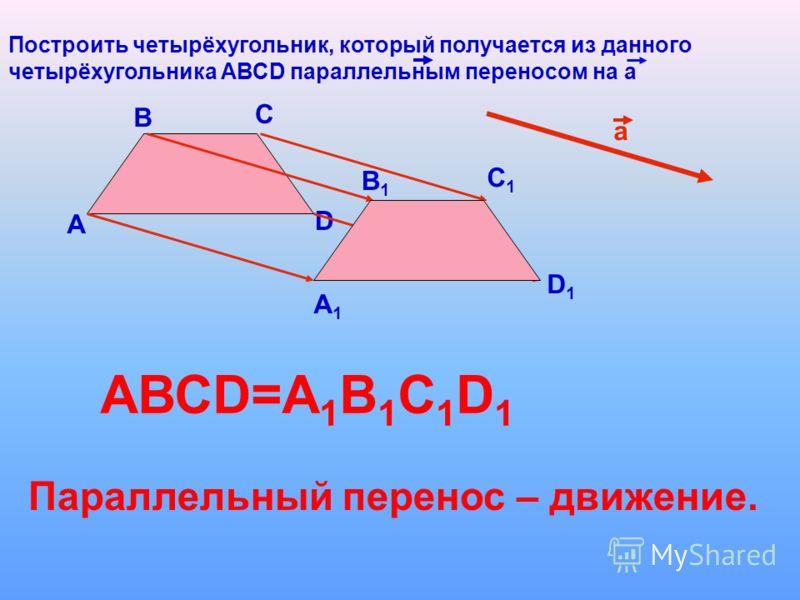Построить четырёхугольник, который получается из данного четырёхугольника АВСD параллельным переносом на а А В С D а А1А1 В1В1 С1С1 D1D1 АВСD=A 1 B 1 C 1 D 1 Параллельный перенос – движение.