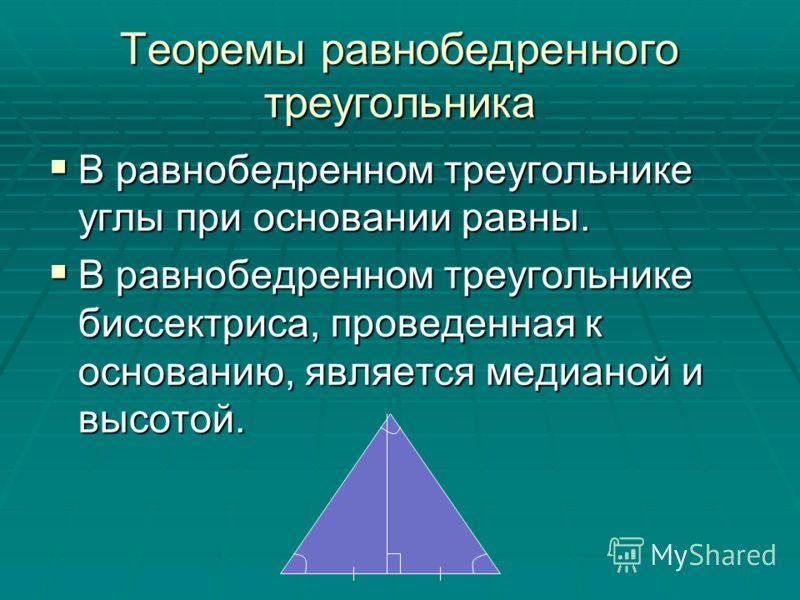 Теоремы равнобедренного треугольника В равнобедренном треугольнике углы при основании равны. В равнобедренном треугольнике углы при основании равны. В равнобедренном треугольнике биссектриса, проведенная к основанию, является медианой и высотой. В ра