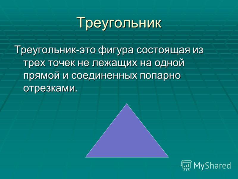 Треугольник Треугольник-это фигура состоящая из трех точек не лежащих на одной прямой и соединенных попарно отрезками.