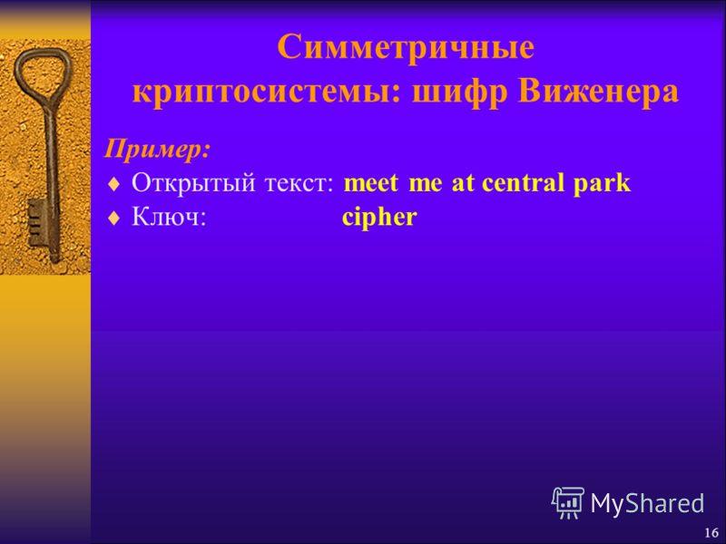 Симметричные криптосистемы: шифр Виженера Пример: Открытый текст: meet me at central park Ключ: cipher 16