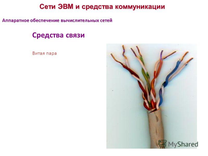 Сети ЭВМ и средства коммуникации Средства связи Витая пара Аппаратное обеспечение вычислительных сетей