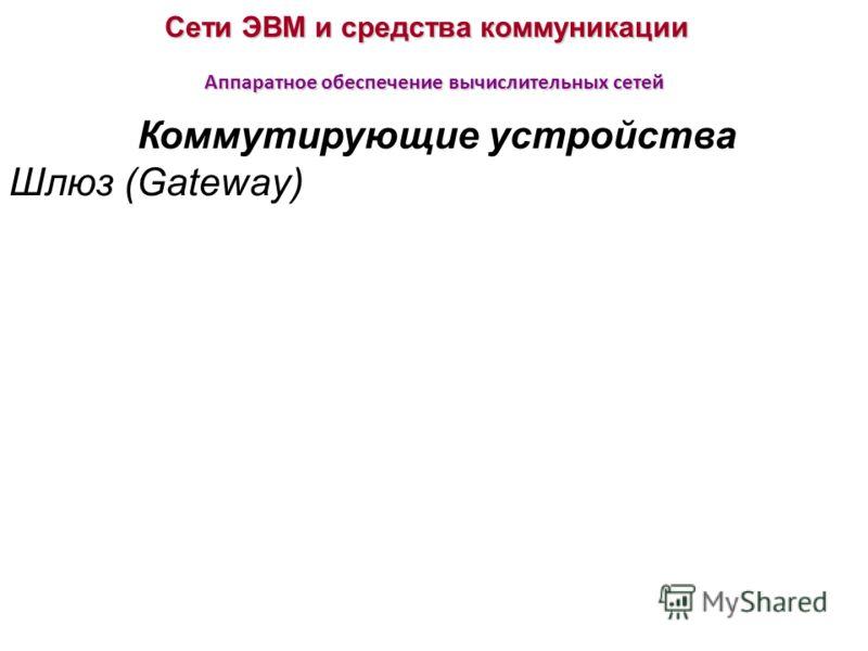 Сети ЭВМ и средства коммуникации Аппаратное обеспечение вычислительных сетей Коммутирующие устройства Шлюз (Gateway)