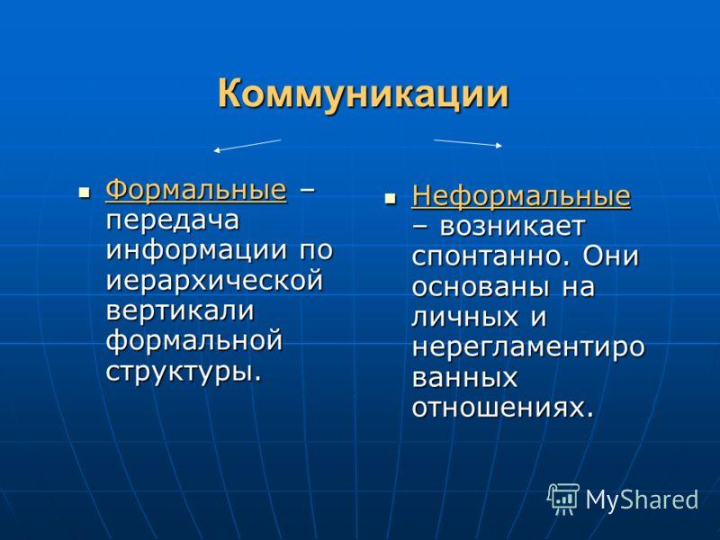 Коммуникации Формальные – передача информации по иерархической вертикали формальной структуры. Формальные – передача информации по иерархической вертикали формальной структуры. Неформальные – возникает спонтанно. Они основаны на личных и нерегламенти